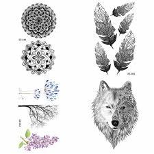 племенная хна татуировка в форме цветка наклейка мужская мода волк рука