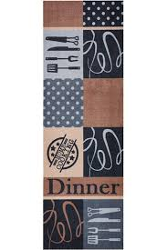 zala living cook clean grey brown kitchen runner