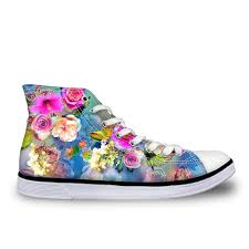 Floral Design Shoes For Ladies Us 34 29 30 Off Forudesigns Flower Design Women Vulcanize Shoes Classic High Top Shoes For Ladies Flats Floral Print Female Canvas Casual Shoes In