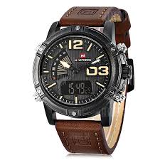 naviforce nf 9095 men dual mov t faux leather watch brown