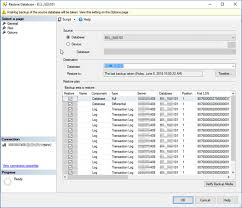 this ssms re database wizard window imately offered up a point in time re using information