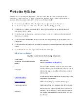 How To Write A Syllabus How To Write A Syllabus Under Fontanacountryinn Com