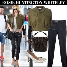 rosie huntington whiteley in khaki green short safari saint lau jacket leather anine bing