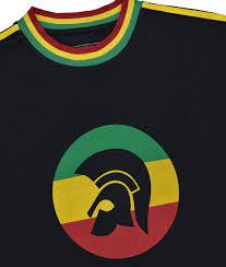 trojan records rasta twin stripe helmet t shirt