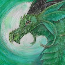 Green Illustrated Oil Pastel Fantasy Dragon In 2019 Oil