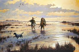 duck hunting painting of hunters and a dog wading in a marsh at sunrise