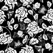 black and white floral wallpaper pattern. Plain And Seamless Black Floral Wallpaper Pattern Vector Image U2013 Artwork Of  Backgrounds Textures  With Black And White Floral Wallpaper Pattern L