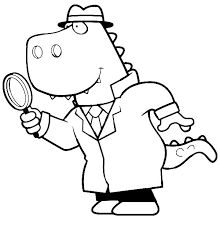 Small Picture Cartoon of a T Rex Detective Using a Magnifying Glass Coloring