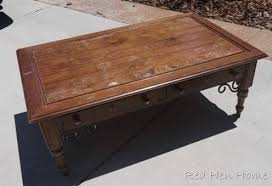 thrift coffee table makeover from red hen home before