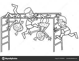 Illustrazione Da Colorare Di Bambini Che Giocano In Palestra