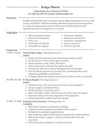 Janitorial Resume Sample Professional Maintenance Janitorial Resume ...