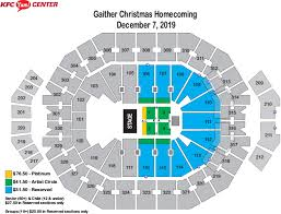 Yum Center Detailed Seating Chart Seating Charts Kfc Yum Center
