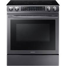 samsung 5 8 cu ft slide in electric range with self cleaning dual convection oven in black stainless steel ne58n9430sg the home depot