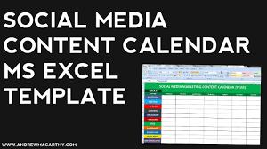 Social Media Content Calendar Template Excel | Social Media ...