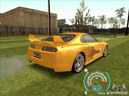 toyota supra fast and furious 2. toyota supra from 2 fast furious for gta san andreas back view and s