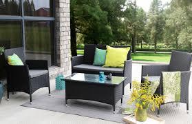 baner garden outdoor furniture complete patio pe wicker rattan garden set black 4 pieces com