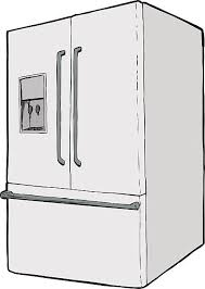 refrigerator clipart black and white. single refrigerator with water dispenser vector art illustration clipart black and white