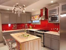 Red Floor Tiles Kitchen Kitchen Terrific Wood Kitchen Island And Glass Bar Stools Red