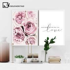 Großhandel Skandinavischen Stil Rosa Blume Malerei Wandkunst