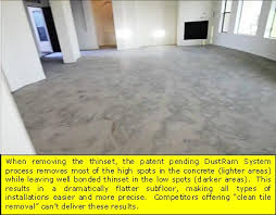 the dustram system tile removal process flattens the higher spots while preserving the thinset in