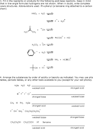 Organic Chemistry I Practice Problems For Bronsted Lowry