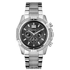 new guess watch for men sporty chronograph silver tone stainless guess watch for men u0177g1