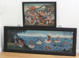 2 antique chinese reverse paintings on glass
