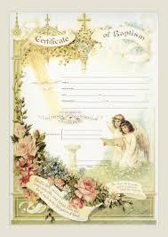 Baptism Certificate Traditional Baptism Sacrament Certificate With Angels Unframed