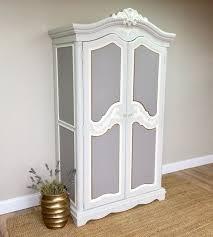 white wood wardrobe armoire shabby chic bedroom. Large Armoire - French Provincial Style Shabby Chic Wardrobe Closet Country Cottage Furniture White Wood Bedroom E
