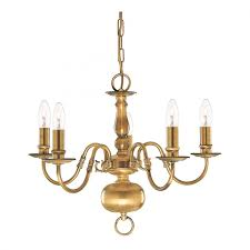 flemish solid antique brass 5 light chandelier with metal candle covers