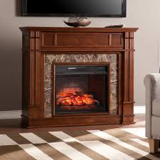 southern enterprises rochester 48 in faux stone infrared media electric fireplace tv stand in whiskey