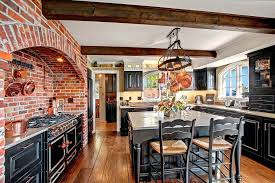 Rustic Kitchen with Glass panel, Ceramic Tile, Kitchen island, LeMans  Counter Stool,