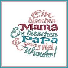 Stickdatei Spruch Mama Papa Wunder Rock Queen
