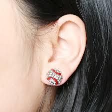 Sauvoo 1 Pair Baseball Stud Earrings Men Stud Earrings Silver Gold