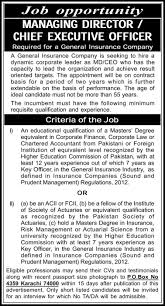 md ceo required in general insurance company pk ceo jobs