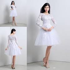 2015 Short Little White Lace 3 4 Long Sleeves Wedding Dresses A