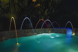 pool fountains and lights