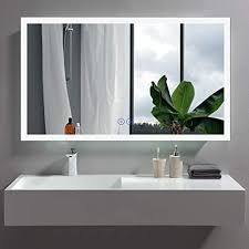 If you already install a sink in the area, try to make the side make up area. Amazon Com Bhbl 48 X 28 In Led Bathroom Mirror Led Lighted Smart Wall Mounted Bathroom Vanity Makeup Mirror Touch Button Anti Fog Dimmable Vertical Horizontal Mount Dk C N031 W5 Kitchen Dining