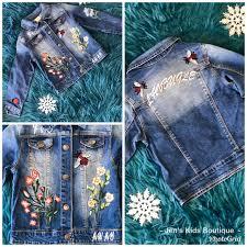 Jens Original Embroidery Designs Fall Denim Ladybug Fun Flower Embroidery Jean Jacket