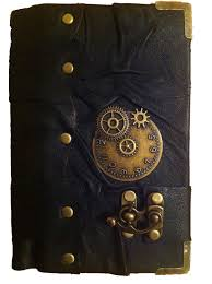 handmade steunk vine victorian clock black leather journal notebook sketchbook 44 99 via etsy