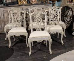 a set of 10 italian painted wood chippendale style side chairs with carved cabriole legs