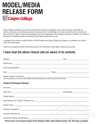 Model Release Form Casper College Wyoming