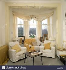 Living Room Bay Window Living Room With Bay Window In Chelsea Home London Uk Stock