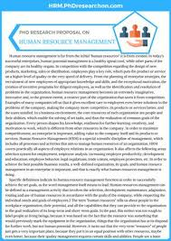 Management Proposal Mesmerizing PhD Research Proposal On Human Resource Management Sample By PhD