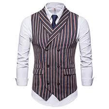 Mens Blazer Fashion Mens Sleeveless Striped Suit Vest