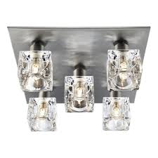 modern 5 light ice cube ceiling light with satin silver backplate