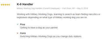 Marine Corps Pros And Cons Chart Marine Corps Dog Handler Mos 5812 2019 Career Profile
