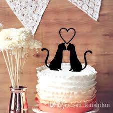2018 Wedding Cake Toppers Cute 2 Cats In Love Wedding Cake Topper