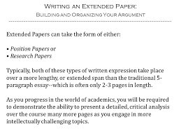 writing an extended paper building and organizing your argument  2 writing