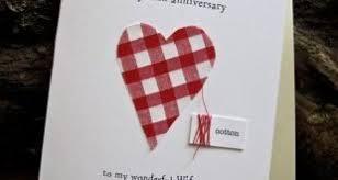 2nd Wedding Anniversary Keepsake Card Cotton Handmade Traditional